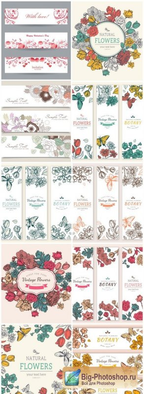 Vintage Floral Banners - 10 Vector
