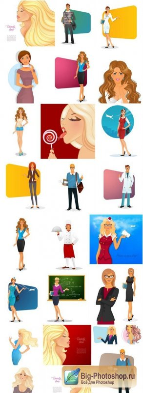 Different Cartoon People - 25 Vector