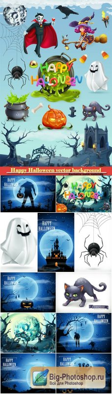 Happy Halloween vector background, pumpkin, spider, cat, witch, vampire and cemetery landscape