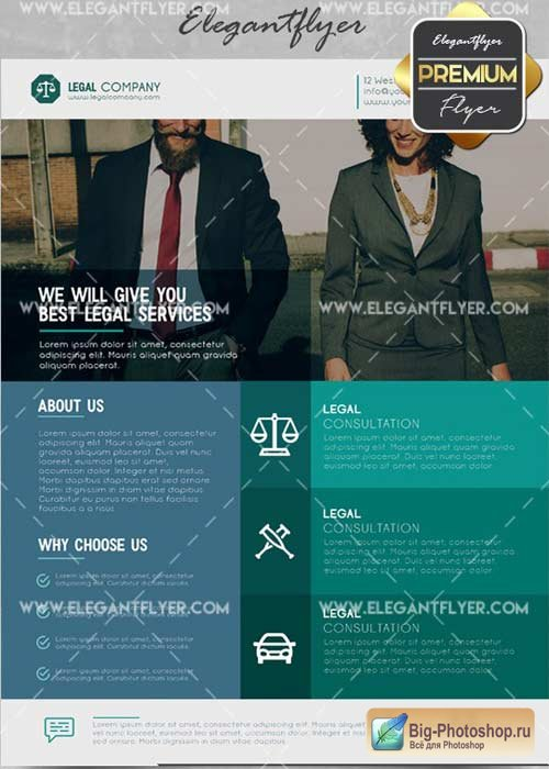 Legal Company V2 Flyer PSD Template + Facebook Cover