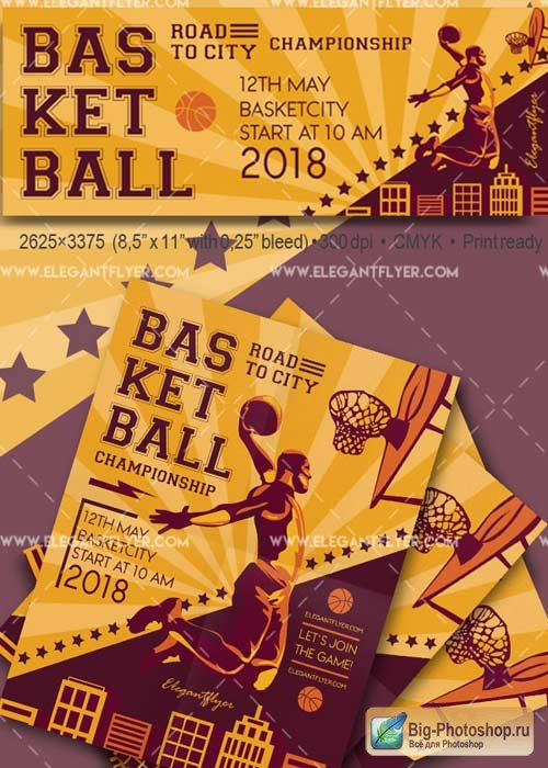 Basketball Flyer V38 PSD Template + Facebook Cover