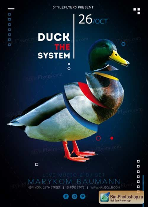 Duck The System V1 PSD Flyer Template
