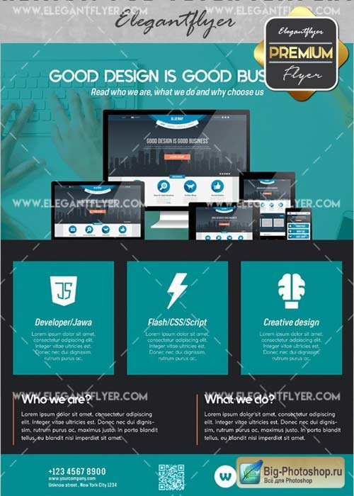 Design Flyer V13 Flyer PSD Template + Facebook Cover