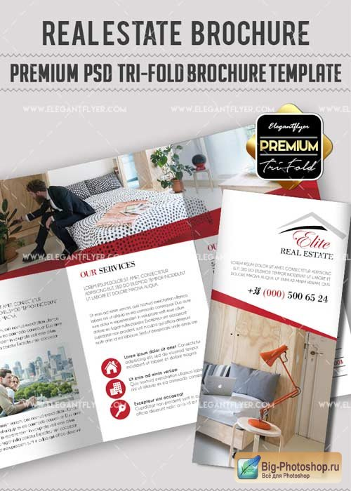 Real estate V17 Premium Tri-Fold PSD Brochure Template