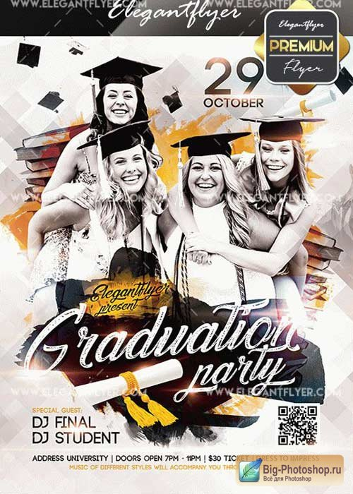 Graduation Party V02 Flyer PSD Template + Facebook Cover