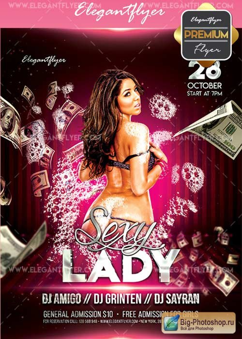 Sexy Lady V19 Flyer PSD Template + Facebook Cover