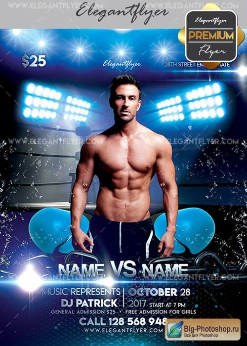 Boxing Tournament V17 Flyer PSD Template + Facebook Cover