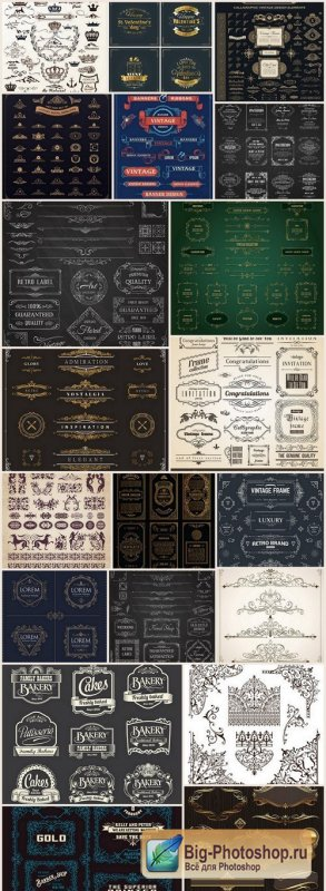 Calligraphic Vintage Elements - 20 Vector