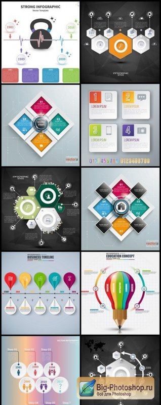 Infographics Design Elements #273 - 10 Vector