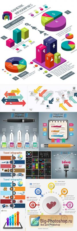 Infographics modern Business elements collection 285