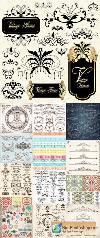 Ornaments and decorations in vintage style