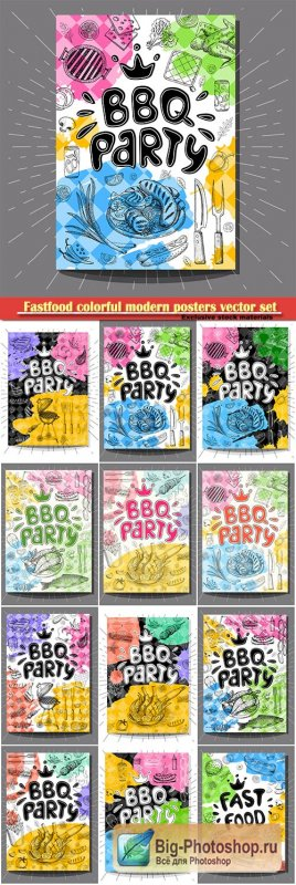 Fastfood colorful modern posters vector set
