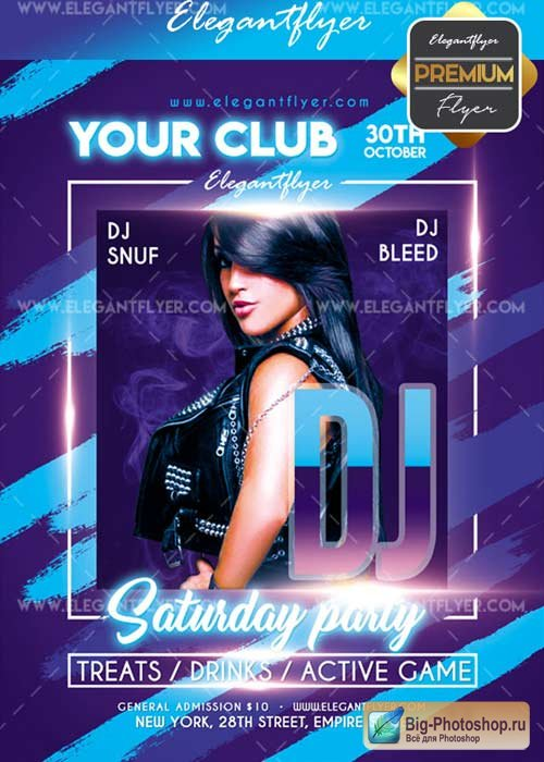 DJ saturday party V19 2017 Flyer PSD Template + Facebook Cover