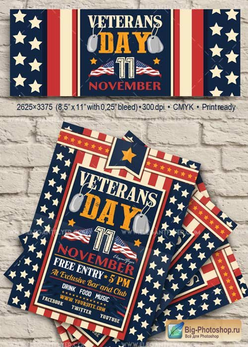 Veterans Day V10 2017 Flyer PSD Template + Facebook Cover