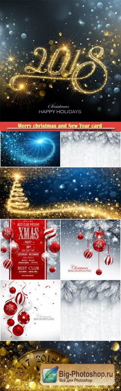 Merry christmas and New Year card with red balls and fir branches, snowy sparkling background