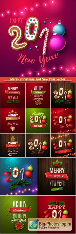 Merry christmas and New Year vector greeting card # 2
