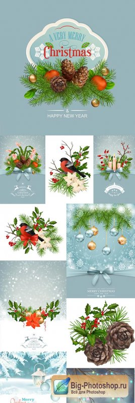 Gentle Christmas background garlands cones and bow