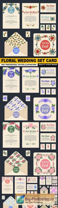 Floral Wedding Set Card - 5 Vector