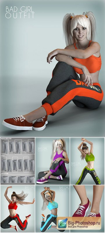 X-Fashion Workout Outfit for Genesis 3 Female(s)