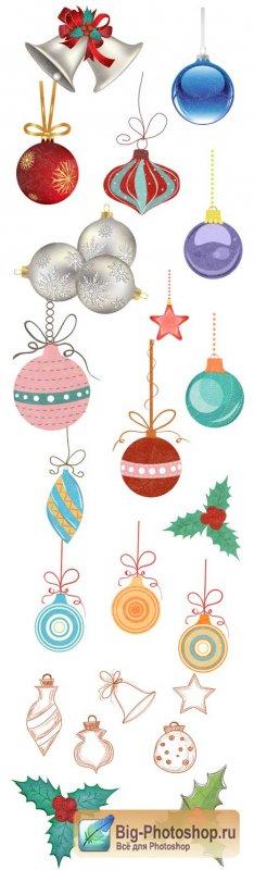 Christmas tree ornaments - Stock Vector