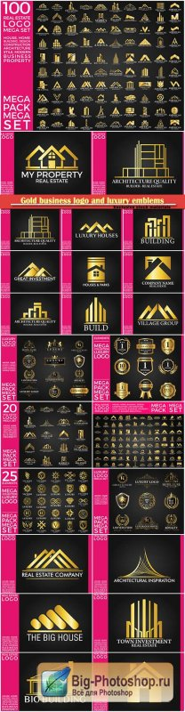 Gold business logo and luxury emblems vector illustration