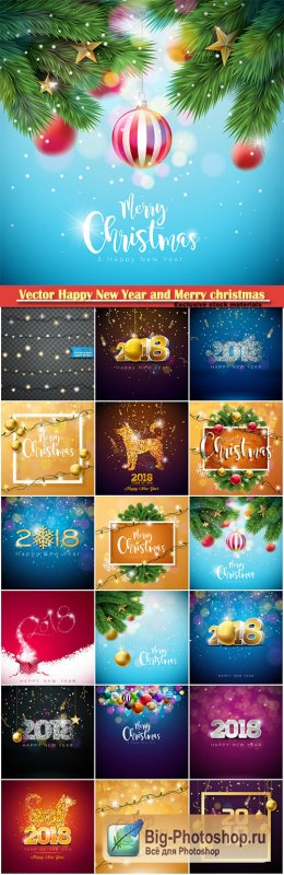 Vector Happy New Year and Merry christmas 2018 illustration