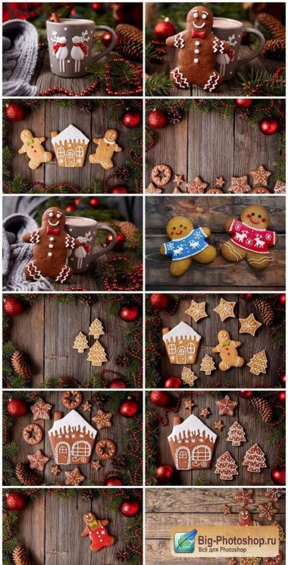 Christmas gingerbread cookies composition - 26xUHQ JPEG Photo Stock