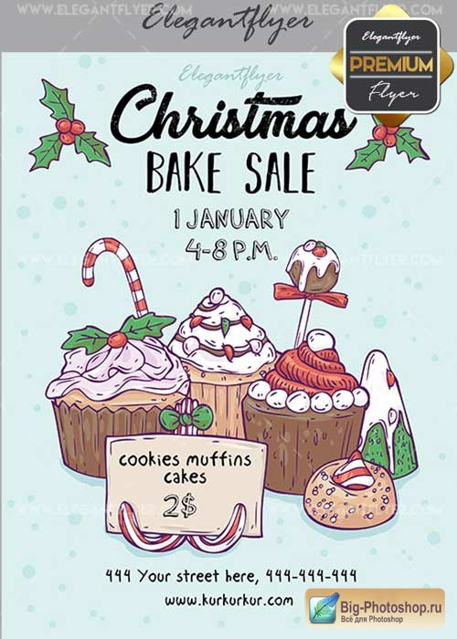Christmas Bake Sale V21 Flyer PSD Template + Facebook Cover