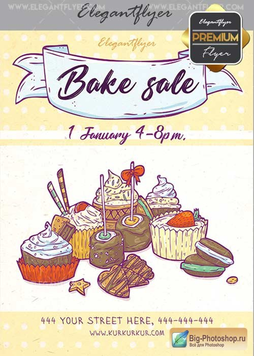 Bake Sale V20 Flyer PSD Template + Facebook Cover