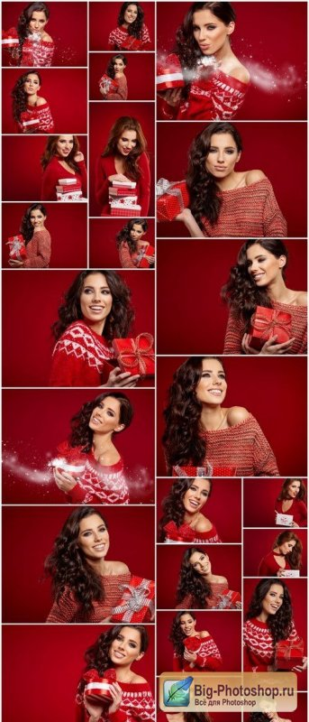 Girl with Christmas Gifts on Red Background 24xJPG