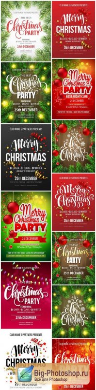 Christmas Party poster design template - 13xEPS Vector Stock
