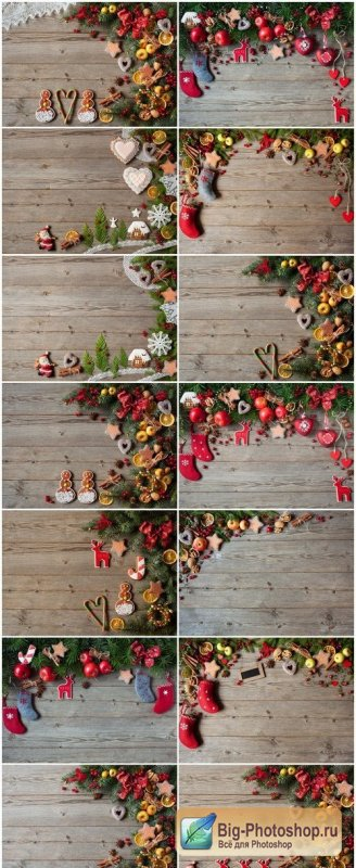 Christmas wooden background with ornaments - 14xUHQ JPEG Photo Stock