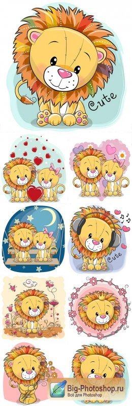 Little lion cartoon an illustration for design birthday