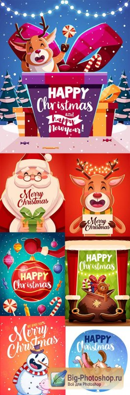 Happy Christmas and New Year design illustration 5