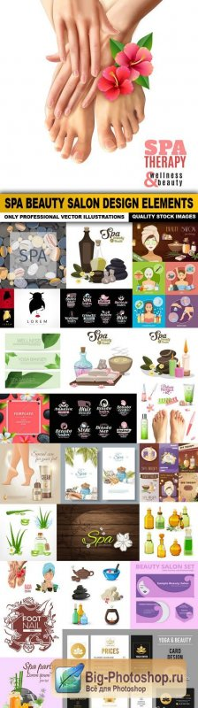 Spa Beauty Salon Design Elements - 25 Vector