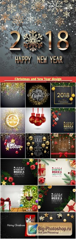 Christmas and New Year design vector illustration