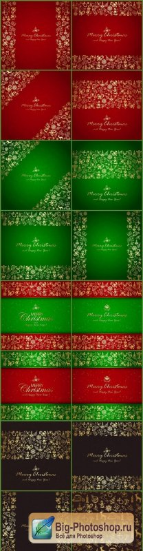 Golden Christmas elements and backgrounds - 16xEPS