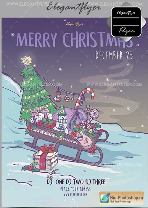 Merry Christmas V28 Flyer PSD Template + Facebook Cover