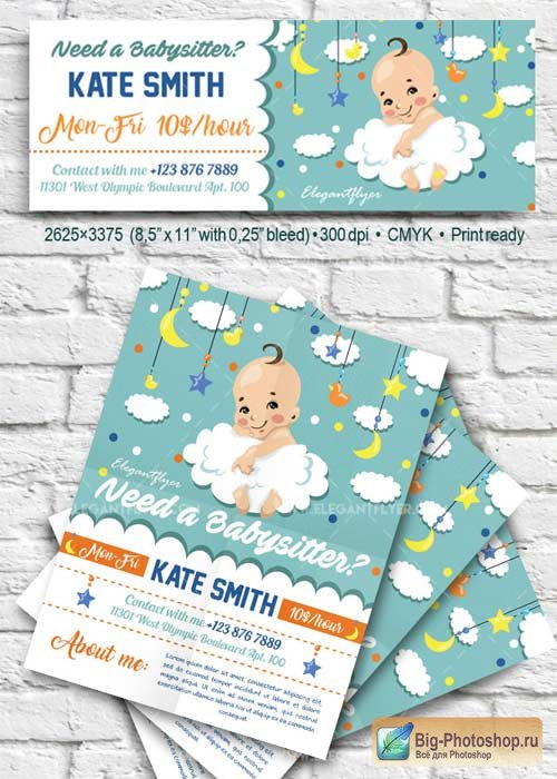 Babysitting V42 Flyer PSD Template + Facebook Cover
