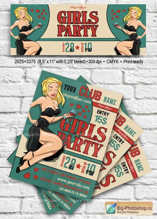 Girls Party V25 Flyer PSD Template + Facebook Cover