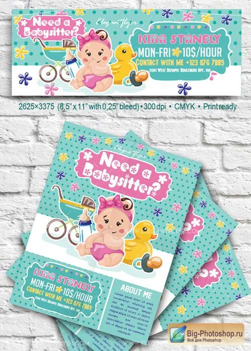 Babysitting V41 Flyer PSD Template + Facebook Cover