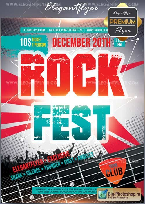 Rock Fest Flyer PSD V17 Template + Facebook Cover