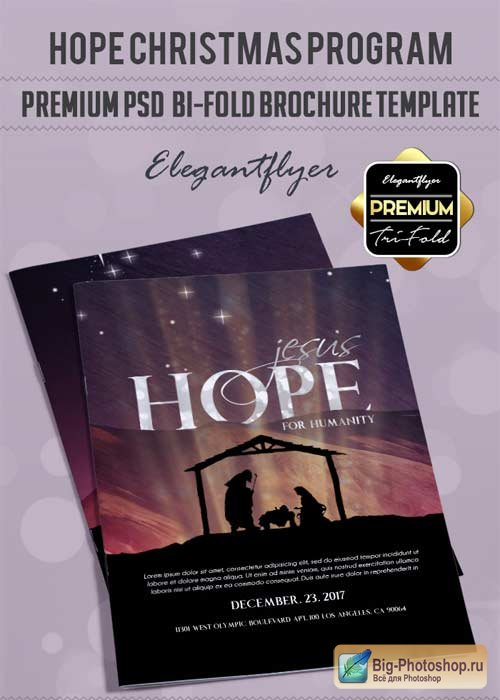 Hope Christmas Program V3 Premium Bi-Fold PSD Brochure Template