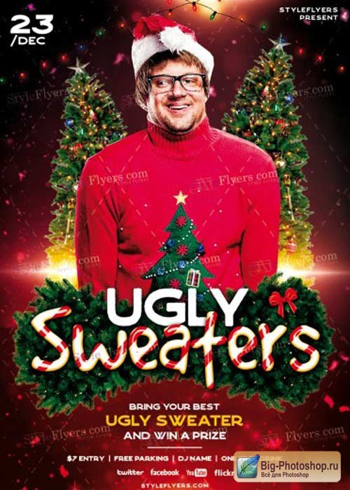 Ugly Sweaters V11 2017 PSD Flyer Template