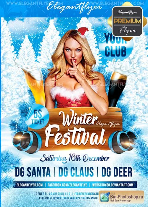 Winter Festival V30 Flyer PSD Template + Facebook Cover