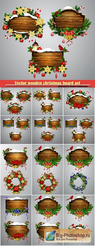Vector wooden christmas board set with christmas tree Cardinal bird and decorations