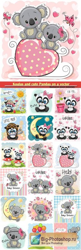Koalas and cute Pandas on a vector background