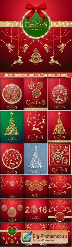 Merry christmas and New Year greeting card vector # 20