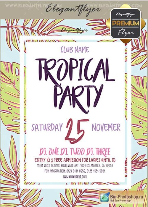 Tropical Party V18 Flyer PSD Template + Facebook Cover