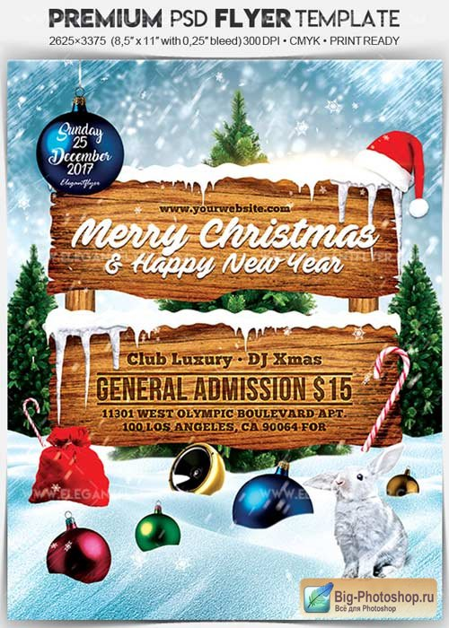 Christmas and New Year Party V24 2017 Flyer PSD Template + Facebook Cover